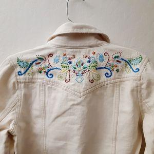 Old Navy Cropped Cream Denim Beaded Jacket